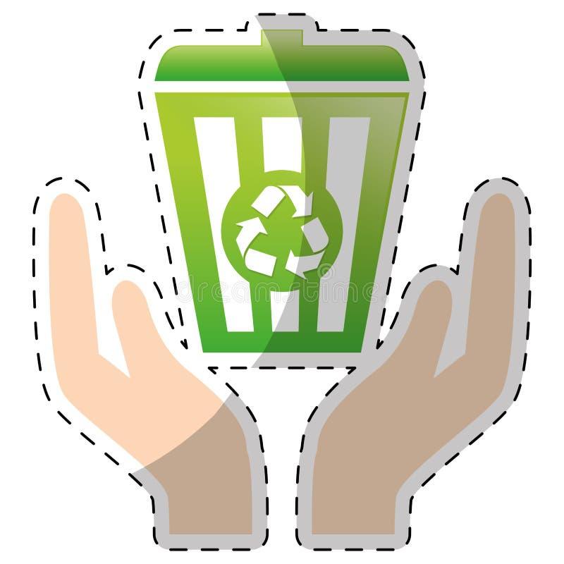 Mand van kalk de groene recycleng met handen vector illustratie