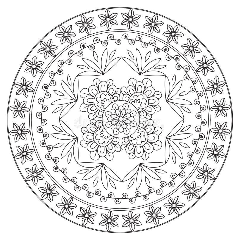 Mandala étnica de la flor que colorea libre illustration