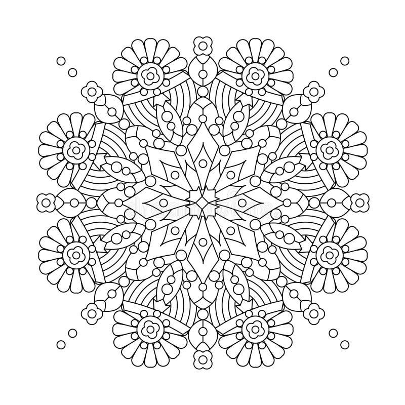 Mandala ή ιδιότροπο snowflake σχέδιο τέχνης γραμμών απεικόνιση αποθεμάτων