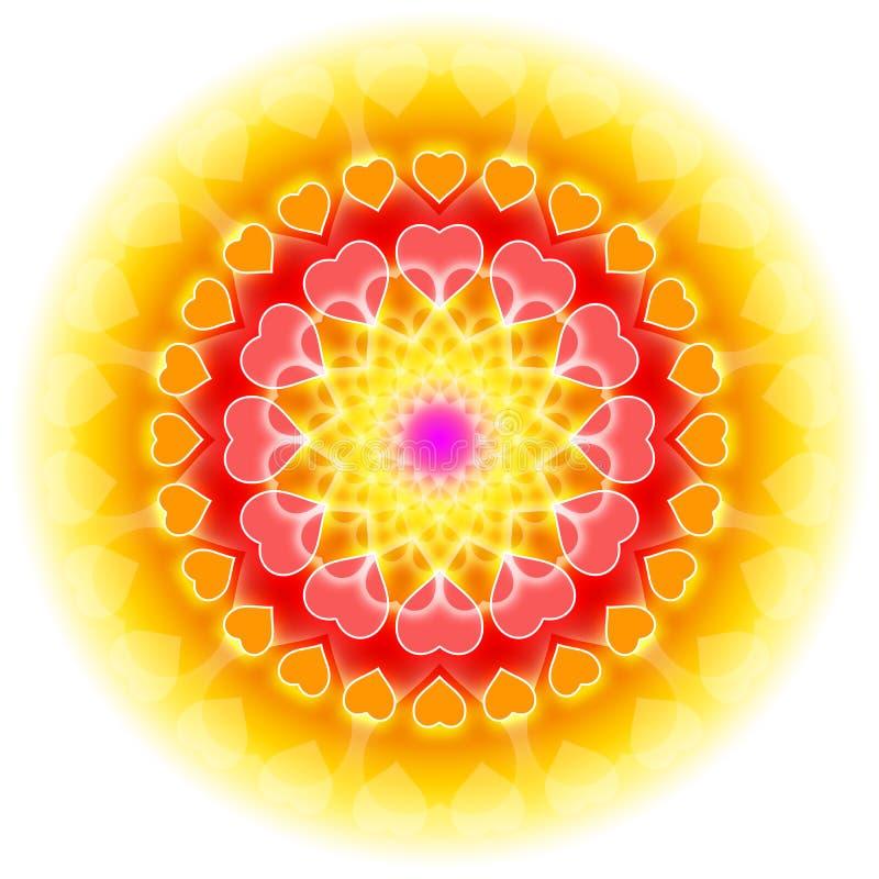 mandala αγάπης καρδιών ανθίσματο διανυσματική απεικόνιση