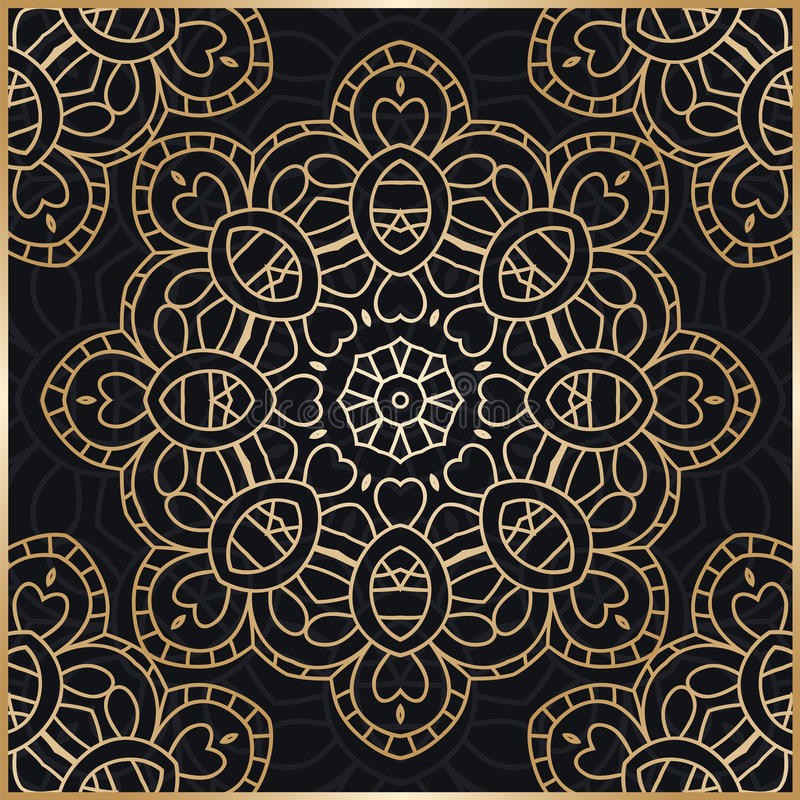 mandala ανασκόπηση χρυσή Τυποποιημένα λουλούδια λουλούδι χρυσό Gol διανυσματική απεικόνιση