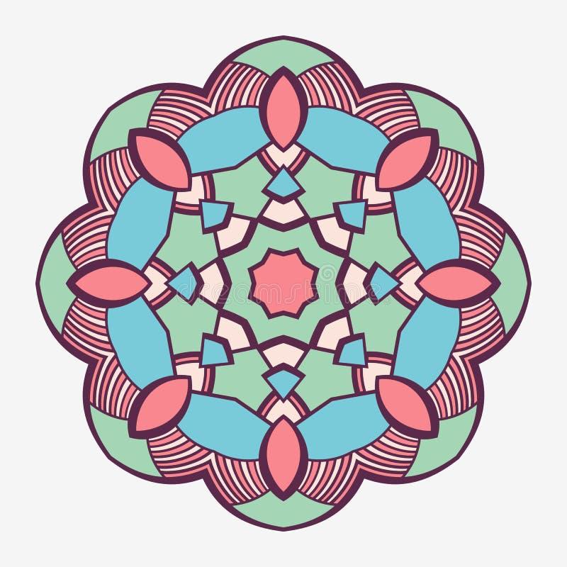 mandala Δημιουργική κυκλική διακόσμηση Στρογγυλό συμμετρικό σχέδιο διακοσμητικός τρύγος στ&o Εθνικό ασιατικό σχέδιο απεικόνιση αποθεμάτων