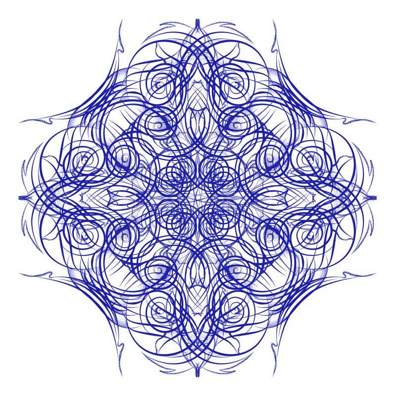 mandala Διακοσμητικό στρογγυλό μπλε σχέδιο δαντελλών απεικόνιση αποθεμάτων