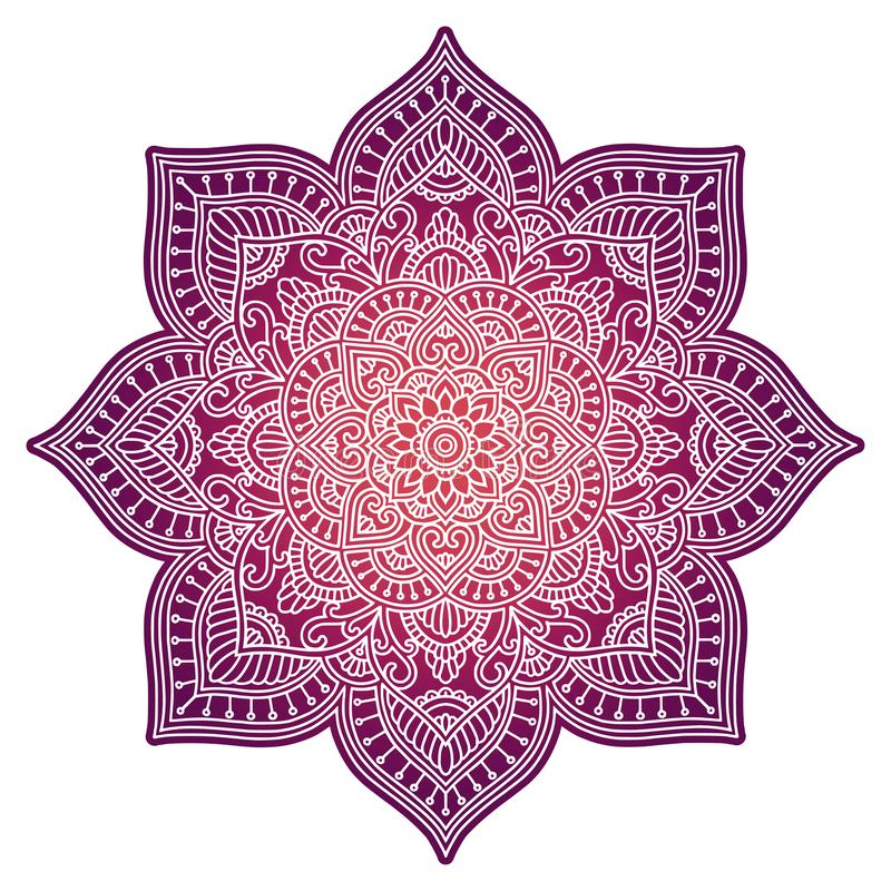 Mandala κλίσης Εθνική διακόσμηση κύκλων Συρμένο χέρι παραδοσιακό ινδικό στρογγυλό στοιχείο Πνευματικό henna γιόγκας περισυλλογής διανυσματική απεικόνιση
