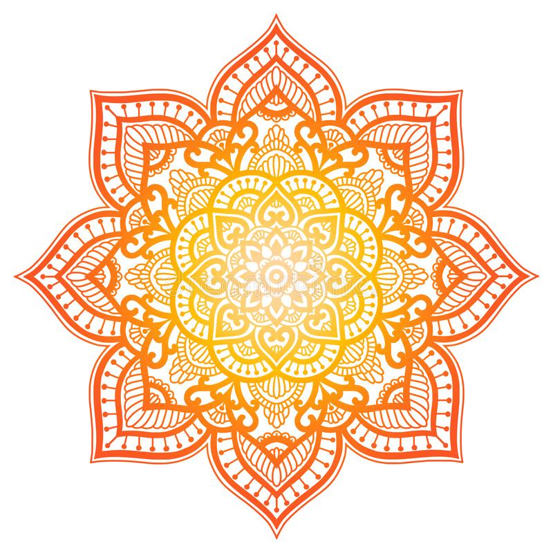 Mandala κλίσης Εθνική διακόσμηση κύκλων Συρμένο χέρι παραδοσιακό ινδικό στρογγυλό στοιχείο Πνευματικό henna γιόγκας περισυλλογής απεικόνιση αποθεμάτων
