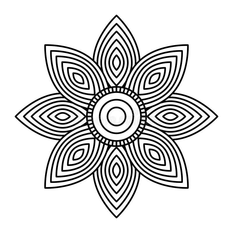 Mandala λουλουδιών διακοσμητικό εθνικό σχέδιο χρωματισμού στοιχείων ενήλικο ελεύθερη απεικόνιση δικαιώματος