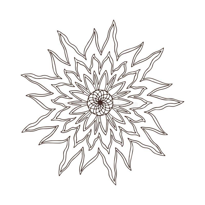 Mandala λουλουδιών πυρκαγιάς Σχέδιο τέχνης δερματοστιξιών Σχέδιο διακοσμήσεων ταπήτων Διάνυσμα για την ενήλικη χρωματίζοντας σελί απεικόνιση αποθεμάτων