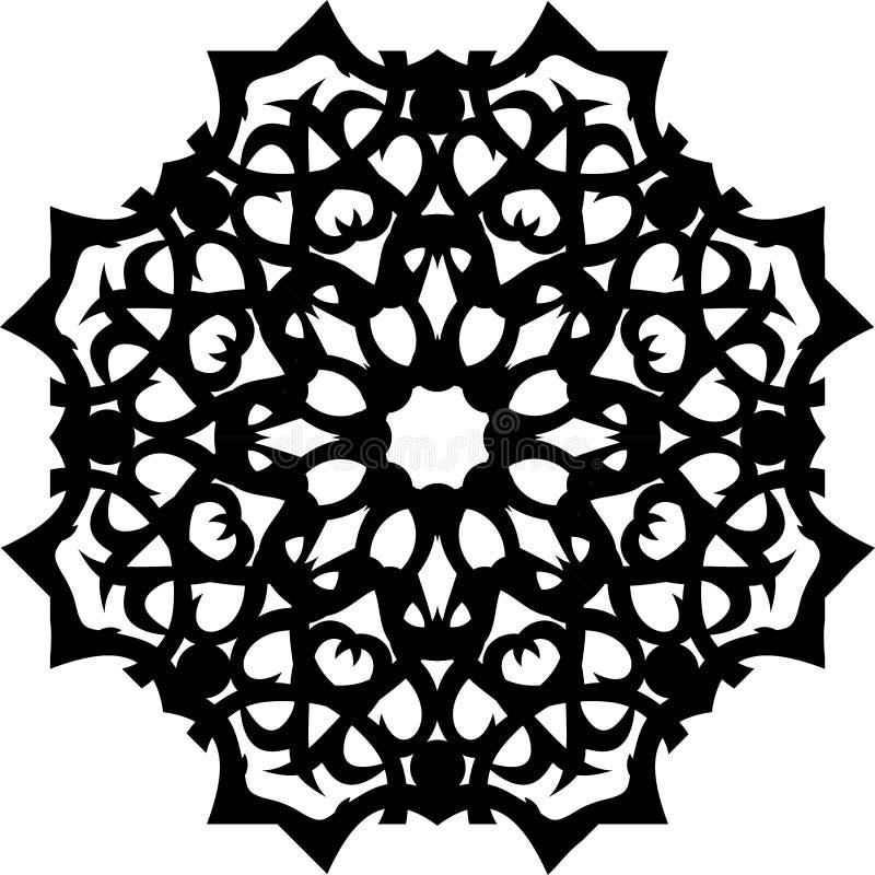 Mandala, μαύρο Εθνικό διακοσμητικό διάνυσμα στοιχείων απεικόνιση αποθεμάτων
