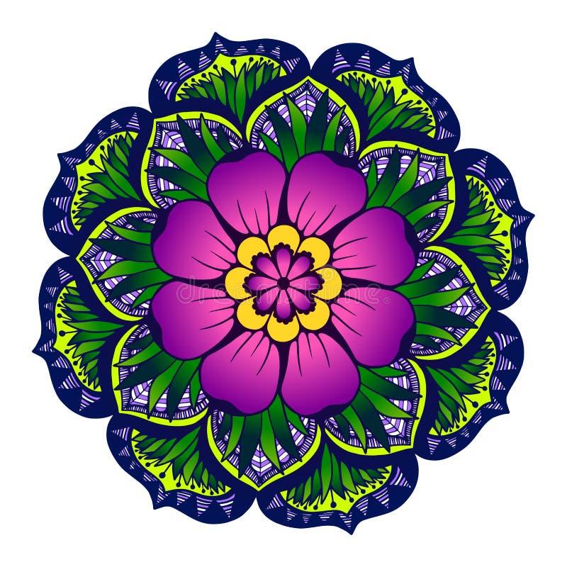 Mandala με ένα μεγάλο λουλούδι στο κέντρο διανυσματική απεικόνιση