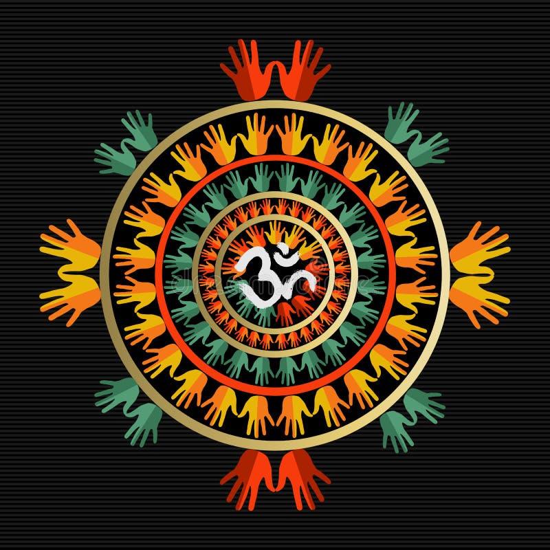 Mandala που γίνεται με τα χέρια και το ινδικό σημάδι του OM διανυσματική απεικόνιση