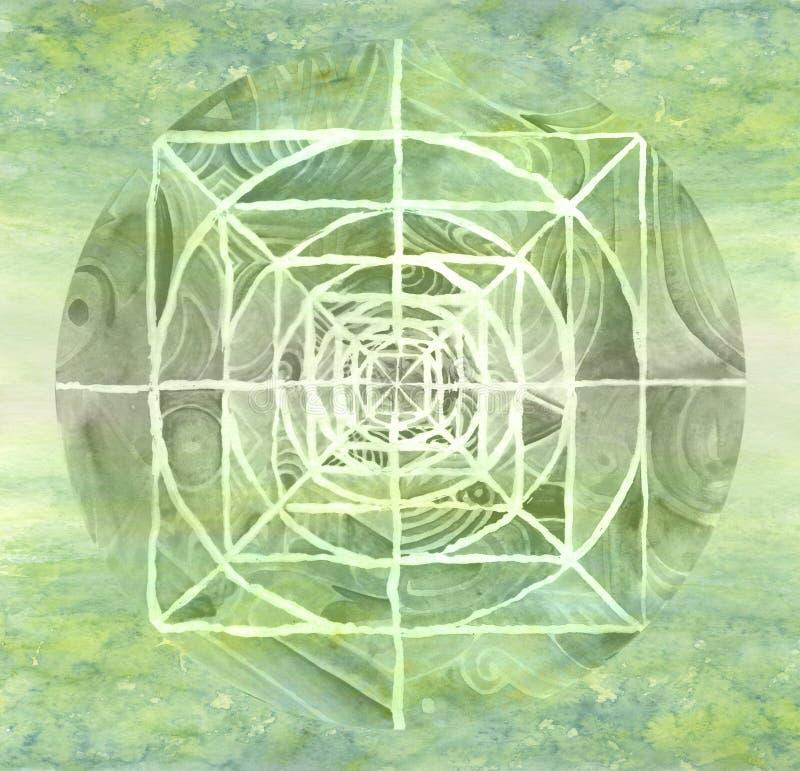 mandala που χρωματίζεται πράσιν&omi απεικόνιση αποθεμάτων
