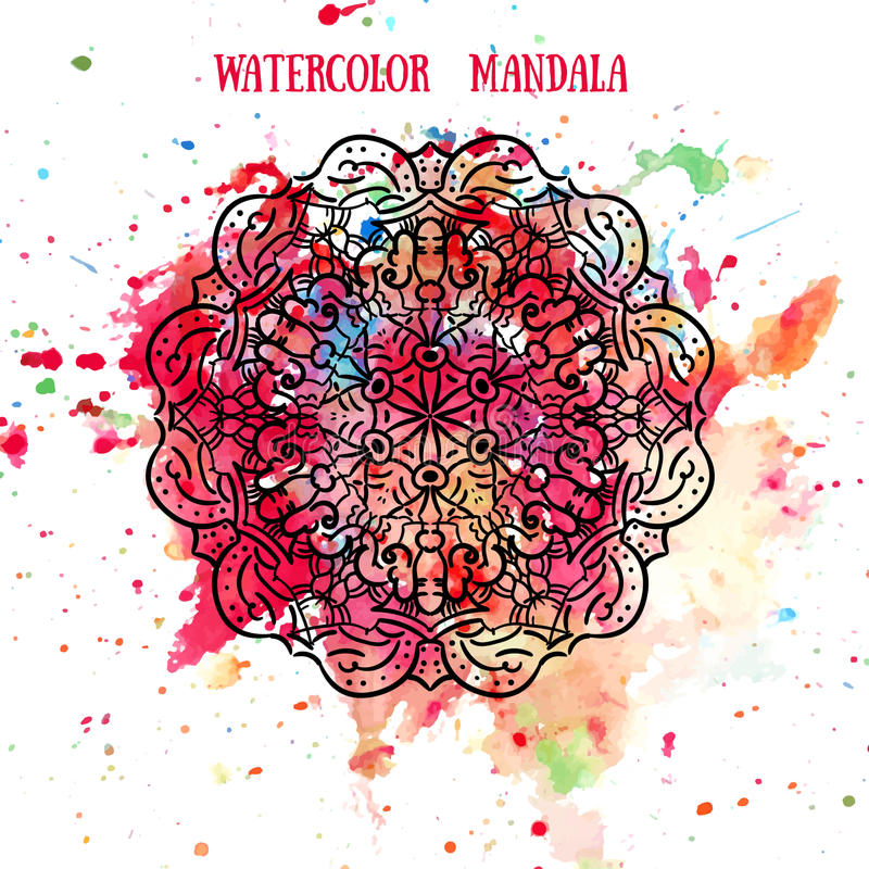 Mandala στο σχέδιο υποβάθρου watercolor Κυκλικές διακοσμήσεις manala δαντελλών Παραδοσιακά ινδικά, ισλαμικός, ασιατικά, αραβικά ελεύθερη απεικόνιση δικαιώματος