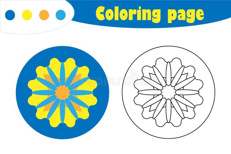 Mandala στο ύφος κινούμενων σχεδίων, χρωματίζοντας σελίδα, παιχνίδι εγγράφου εκπαίδευσης άνοιξη για την ανάπτυξη των παιδιών, προ ελεύθερη απεικόνιση δικαιώματος