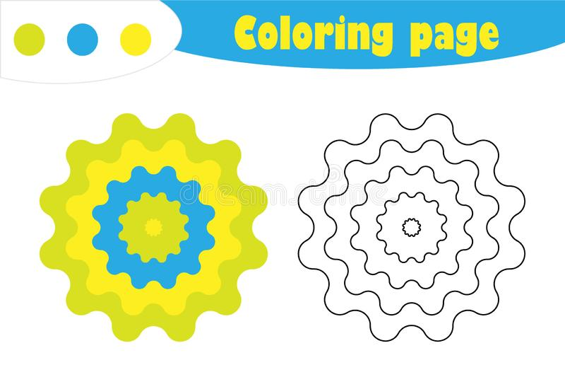 Mandala στο ύφος κινούμενων σχεδίων, χρωματίζοντας σελίδα, παιχνίδι εγγράφου εκπαίδευσης άνοιξη για την ανάπτυξη των παιδιών, προ διανυσματική απεικόνιση