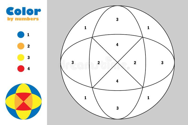 Mandala στο ύφος κινούμενων σχεδίων, χρώμα από τον αριθμό, παιχνίδι εγγράφου εκπαίδευσης για την ανάπτυξη των παιδιών, χρωματίζον διανυσματική απεικόνιση