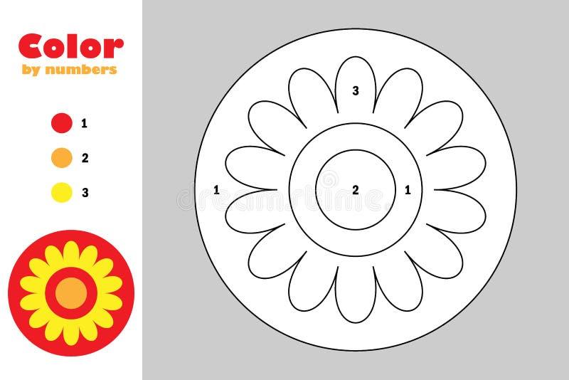 Mandala στο ύφος κινούμενων σχεδίων, χρώμα από τον αριθμό, παιχνίδι εγγράφου εκπαίδευσης για την ανάπτυξη των παιδιών, χρωματίζον ελεύθερη απεικόνιση δικαιώματος