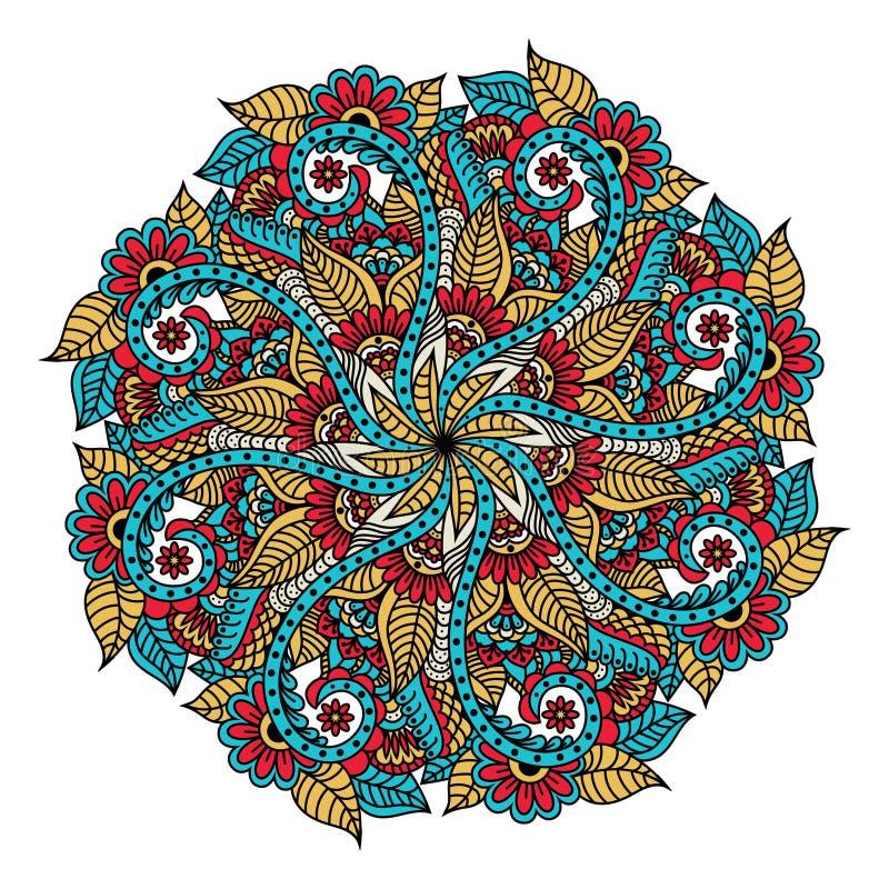 mandala Συρμένο χέρι σκηνικό διάνυσμα για το χρωματισμό της σελίδας για τους ενηλίκους στοκ εικόνες