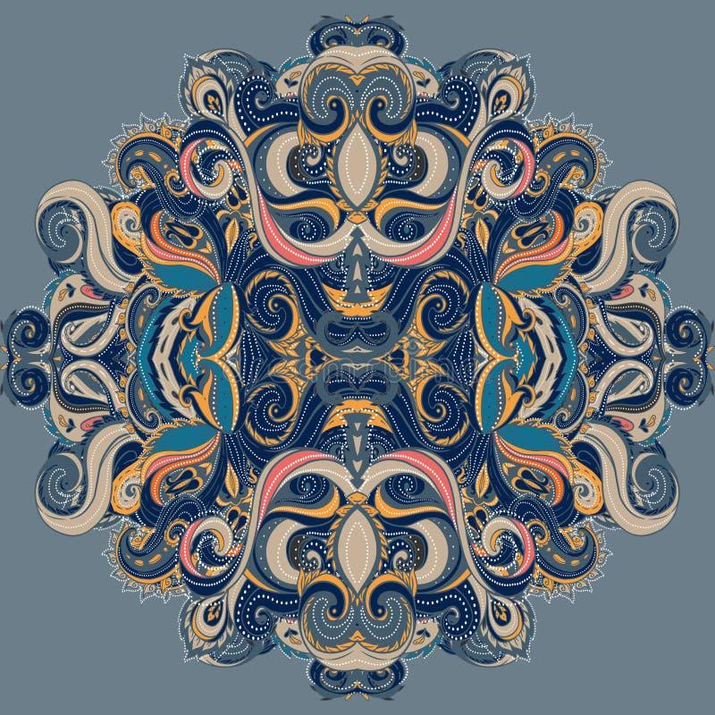 Mandala: Σχέδιο κύκλων, διακοσμητική στρογγυλή δαντέλλα απεικόνιση αποθεμάτων