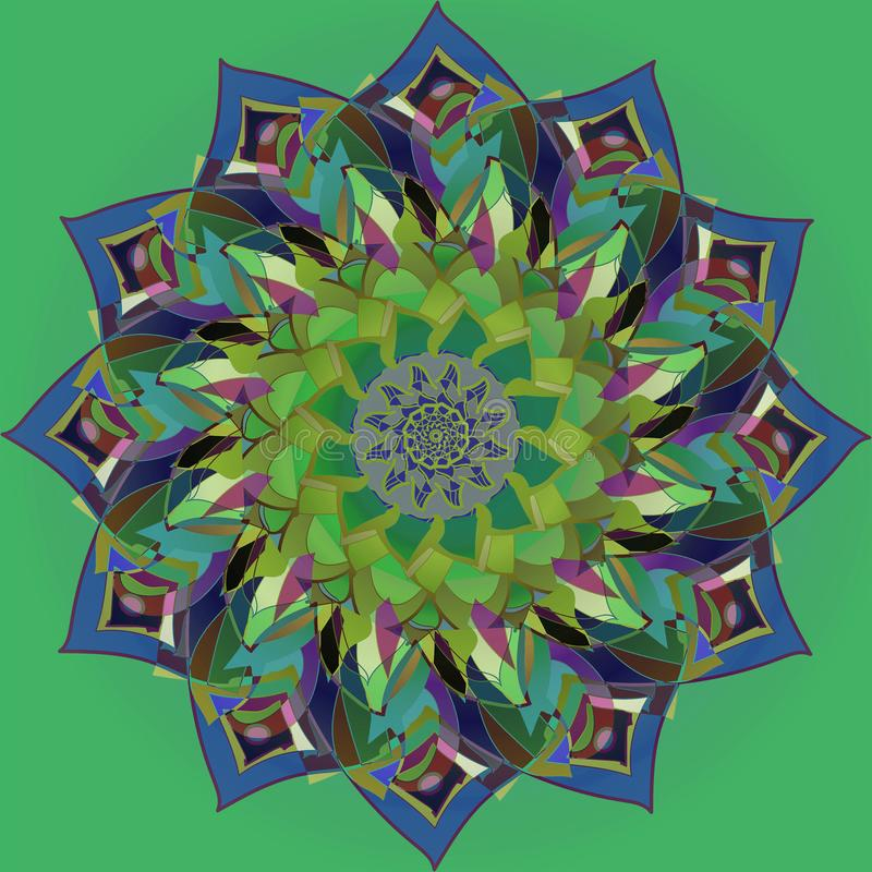 INDIAN MANDALA. PLAIN GREEN BACKGROUND. CENTRAL FLOWER IN BLUE, PURPLE, TURQUOISE, YELLOW, PINK. VINTAGE STYLE. VINTAGE STYLE. PLAIN GREEN BACKGROUND. INDIAN royalty free illustration