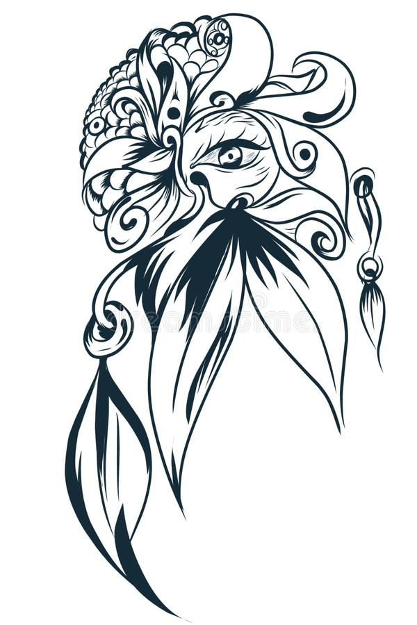 Mandala abstract flower leaves and eyes for tattoo designs vector illustration