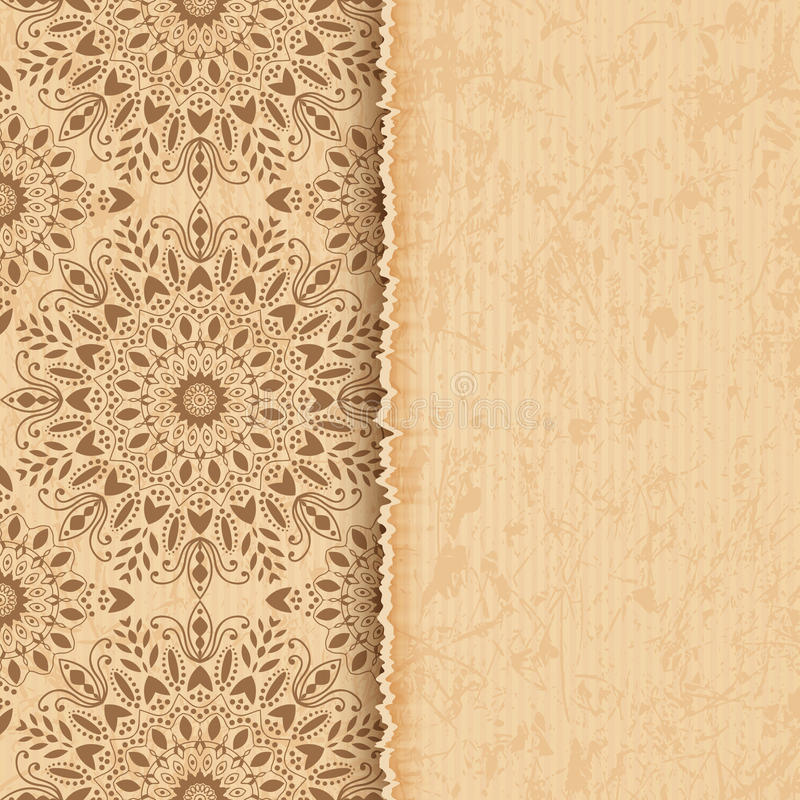 Mandala, abstract tibetan flower background. Indian medallion pattern. Old paper. Vintage bohemian design. Vector art henna ornament stock illustration