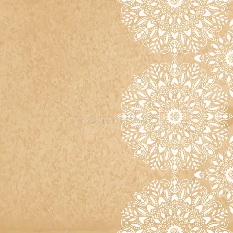 Mandala, abstract tibetan flower background. Seamless border. Indian medallion pattern. Vintage bohemian design. Vector art henna ornament stock illustration