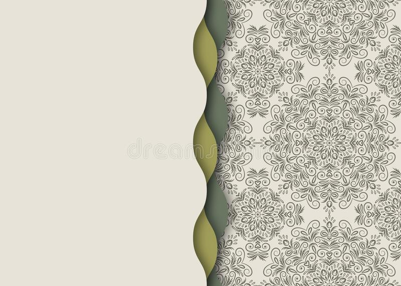 Mandala, abstract tibetan flower background. Seamless wavy edge royalty free illustration