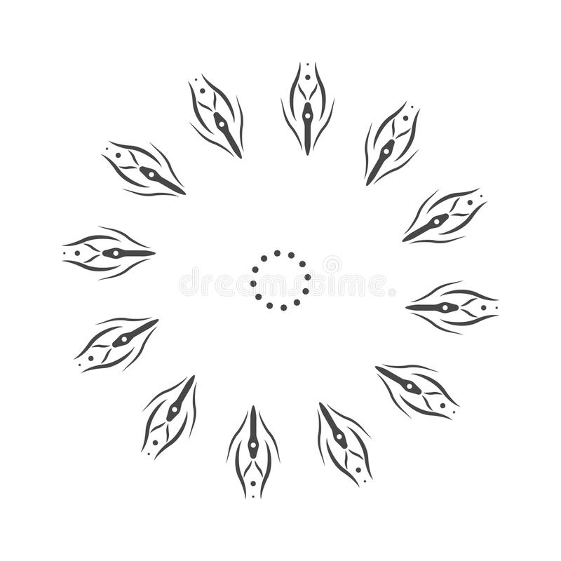 Mandala abstrait de fleur Élément décoratif pour la conception Vecteur Flocon de neige naturel de griffonnages tirés par la main  illustration libre de droits
