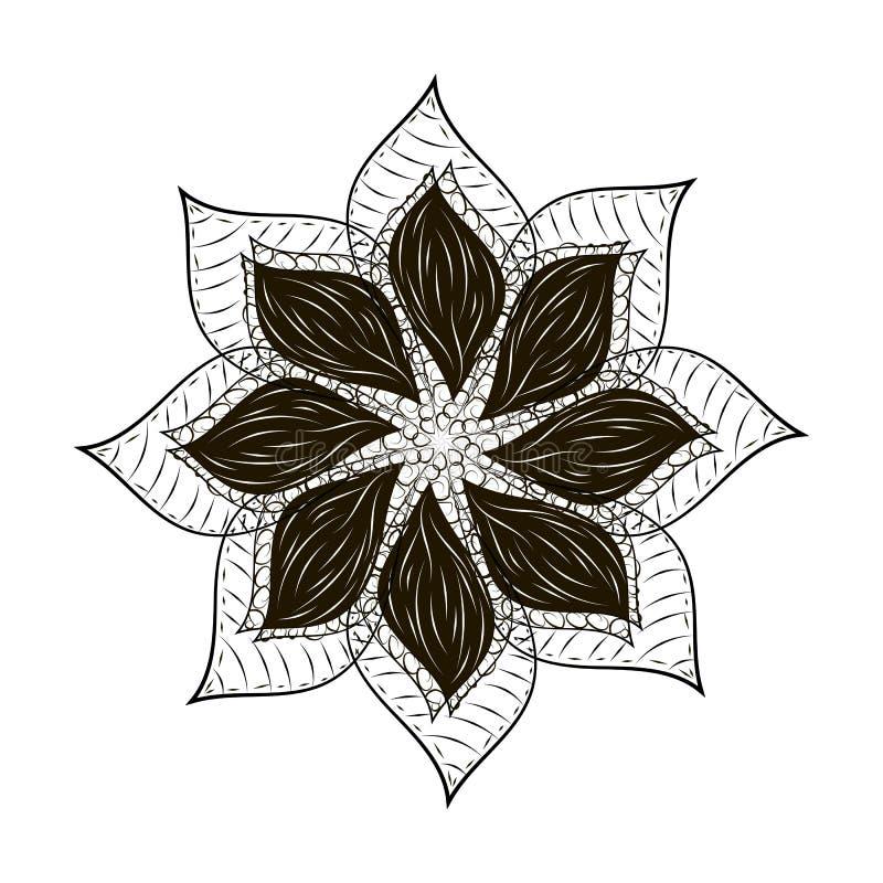Mandala abstrait de noir de tard de fleur illustration libre de droits