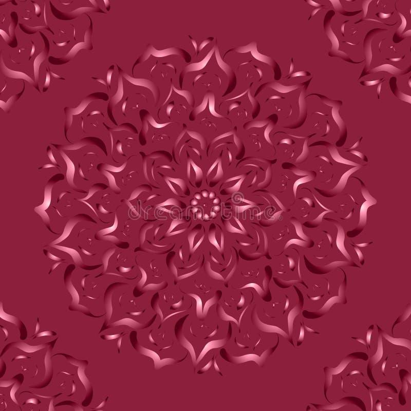 mandala Abstrakt teckning med blom- motiv royaltyfri illustrationer