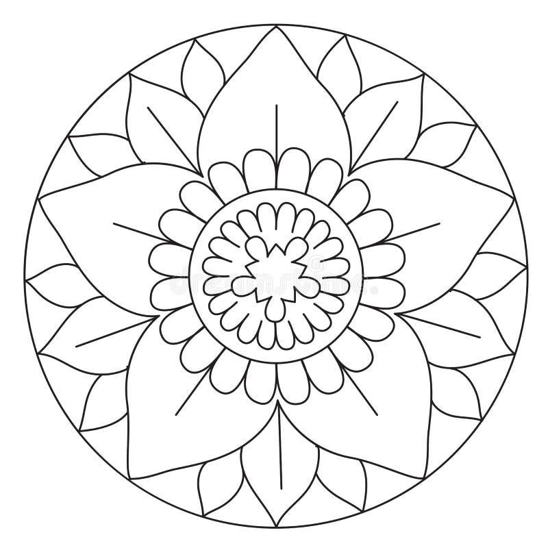 Mandala adorabile di coloritura del fiore illustrazione vettoriale