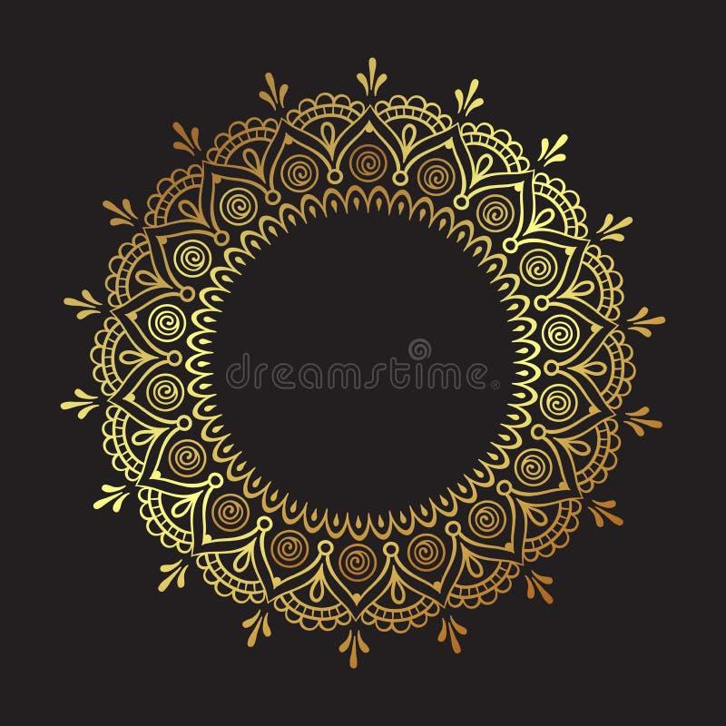Mandala adornada del oro del cordón redondo indio decorativo aislada sobre el ejemplo negro del vector del diseño del marco del a stock de ilustración