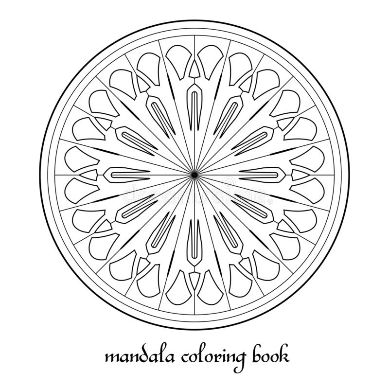 Mandala Adult Coloring Book Vector Circular Ornament. Black and white linear geometric ornament. Vector circular ornament for coloring books, decorations vector illustration