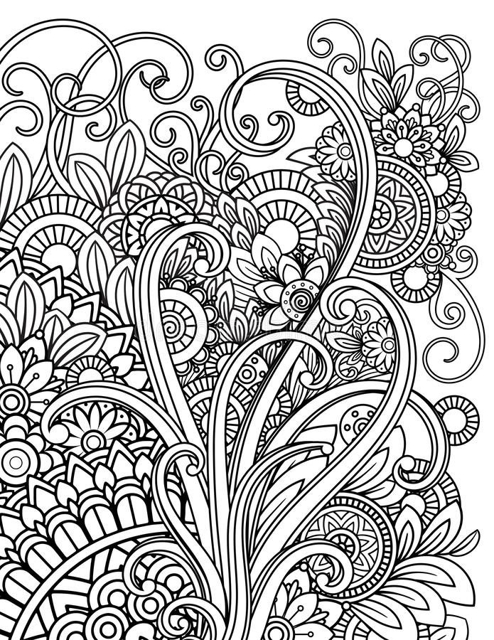 - Mandala Adult Coloring Pages Stock Vector - Illustration Of Page, Doodle:  134964505