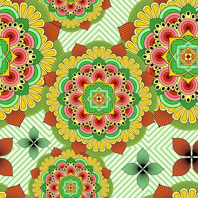Mandala African Zen Floral Ethnic Art Textile Seamless Pattern Vector design royaltyfri illustrationer