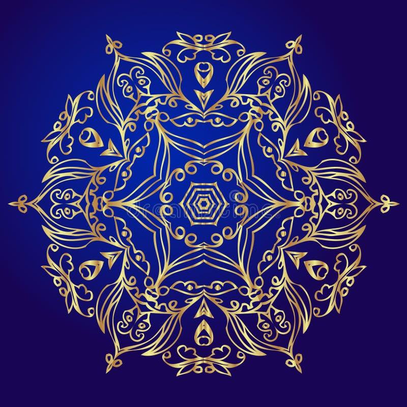 Mandala, amulet Esoterisch gouden symbool op een blauwe achtergrond stock illustratie