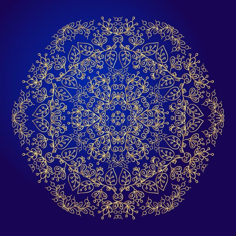 Mandala, amulet Esoterisch gouden symbool op een blauwe achtergrond vector illustratie