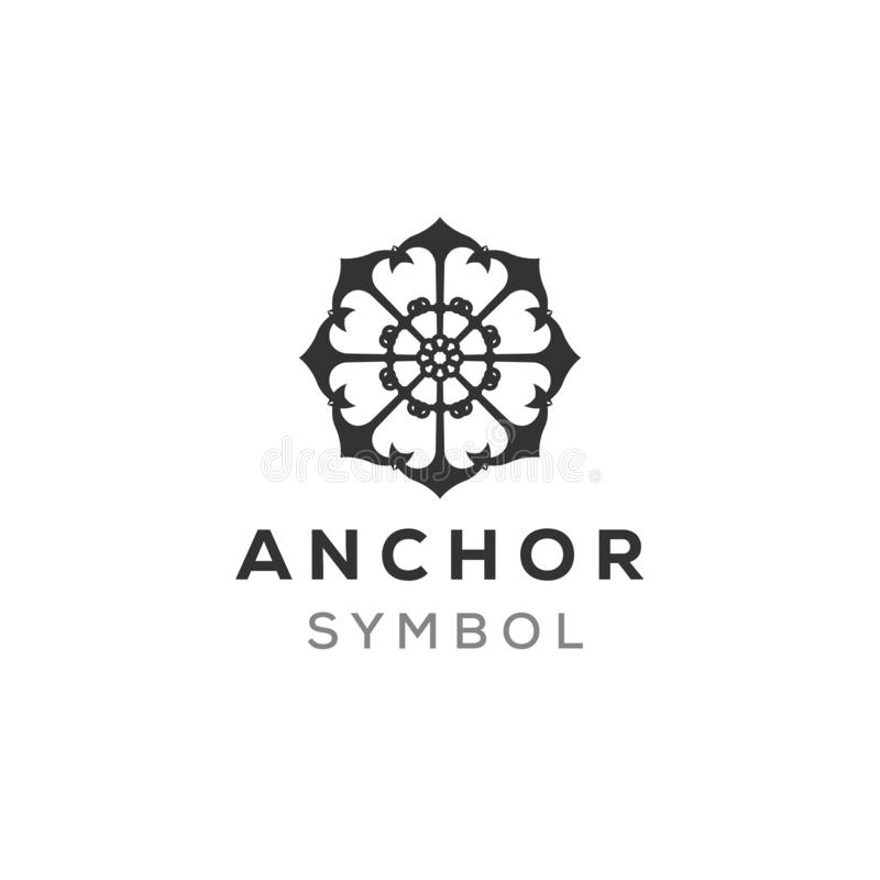 Mandala anchor logo design inspiration, mature logo concept. Anchor combination vector illustration