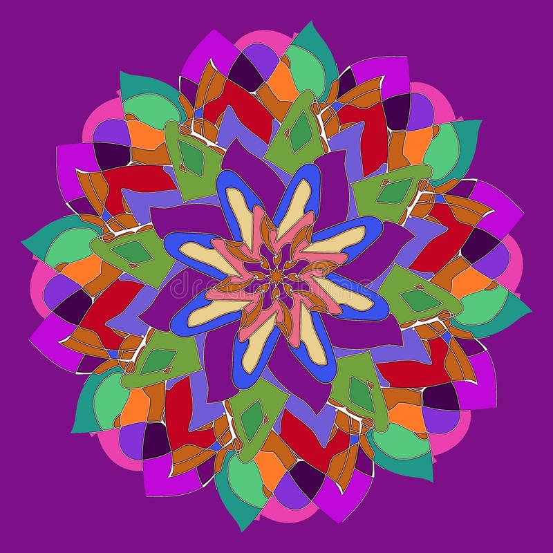 MANDALA FLOWER. ART DECO STYLE. PLAIN VIOLET BACKGROUND. CENTRAL FLOWER IN RED, GREEN, BLUE, FUCHSIA, VIOLET, PURPLE, YELLOW. royalty free stock images