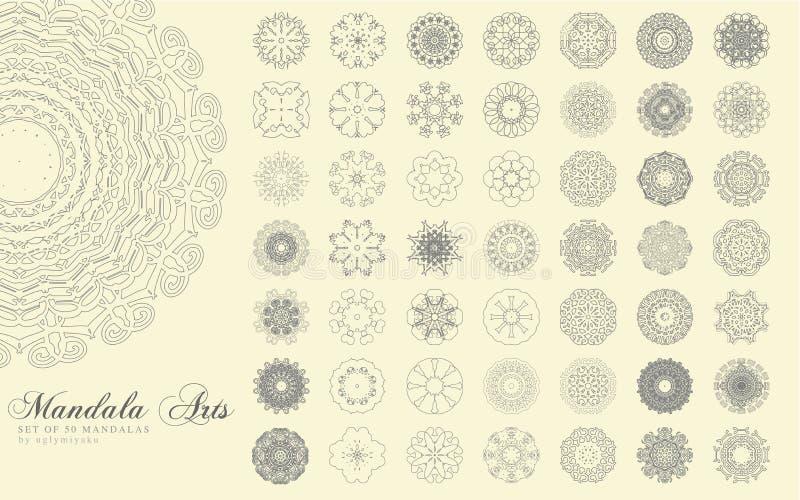 Mandala Arts Set stock illustrationer