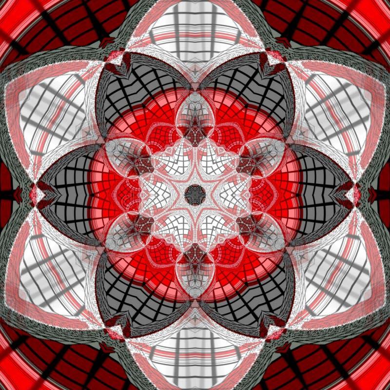Mandala astratta del mosaico Variopinto, carta Mandala scura delle mattonelle in nero ed in rosso illustrazione vettoriale