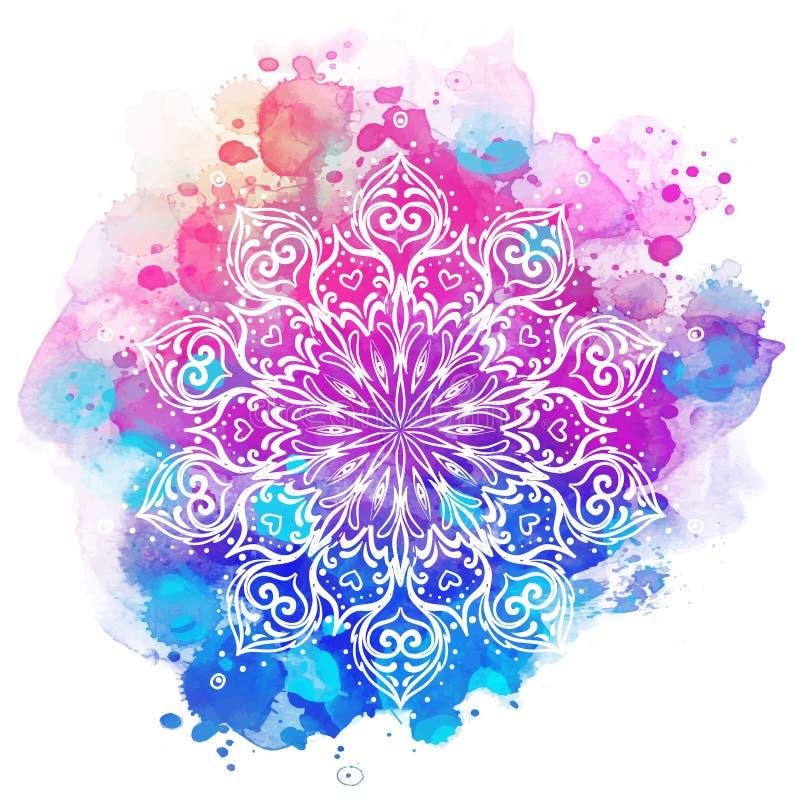 Mandala au-dessus d'aquarelle colorée Bagout rond de beau vintage illustration de vecteur
