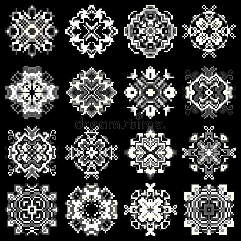 Mandala av PIXEL på en samling för svartbakgrundssymboler stock illustrationer