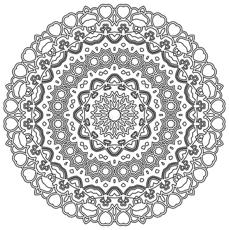 Mandala avec des coeurs illustration stock. Illustration du élément ...