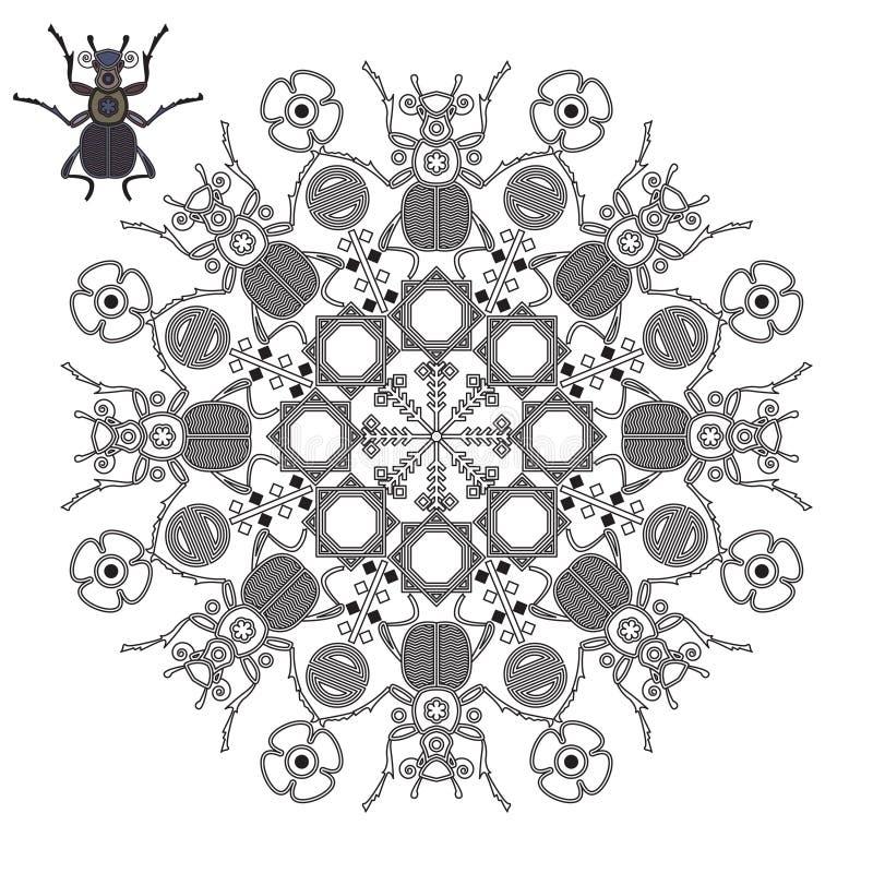 Mandala avec des scarabées et des fleurs illustration libre de droits