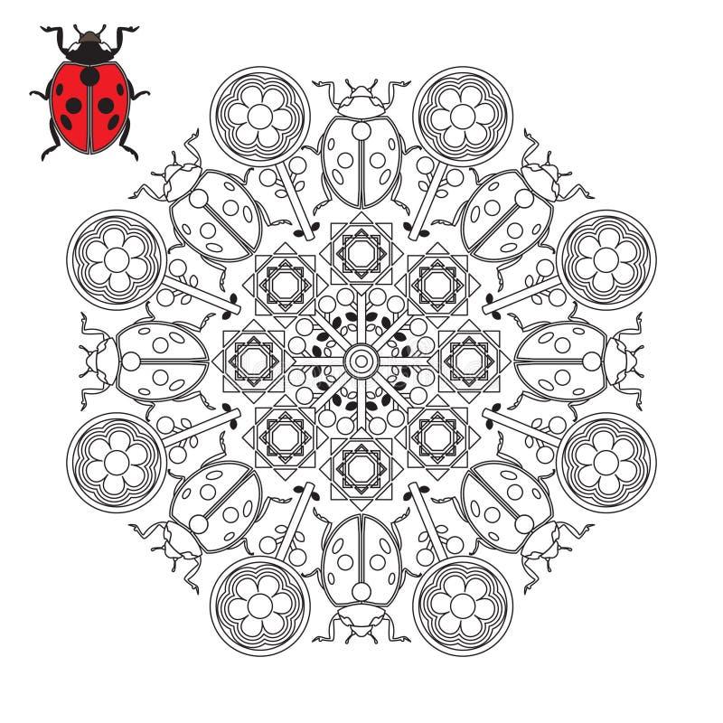Mandala avec la coccinelle illustration de vecteur
