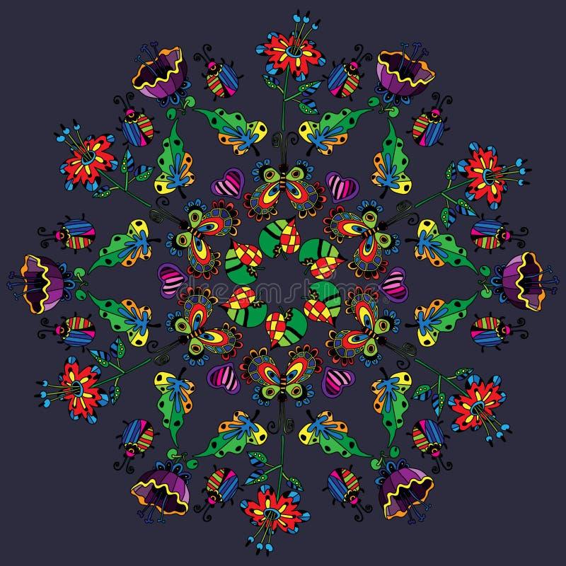 Mandala avec les fleurs lumineuses illustration stock