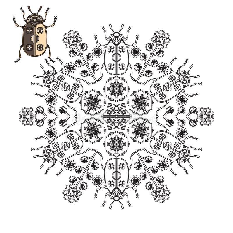 Mandala avec un scarabée et des fleurs illustration libre de droits