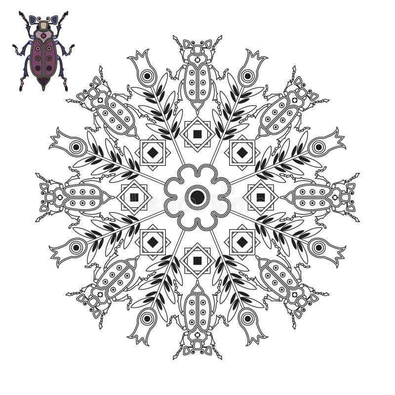 Mandala avec un scarabée et une tulipe illustration stock