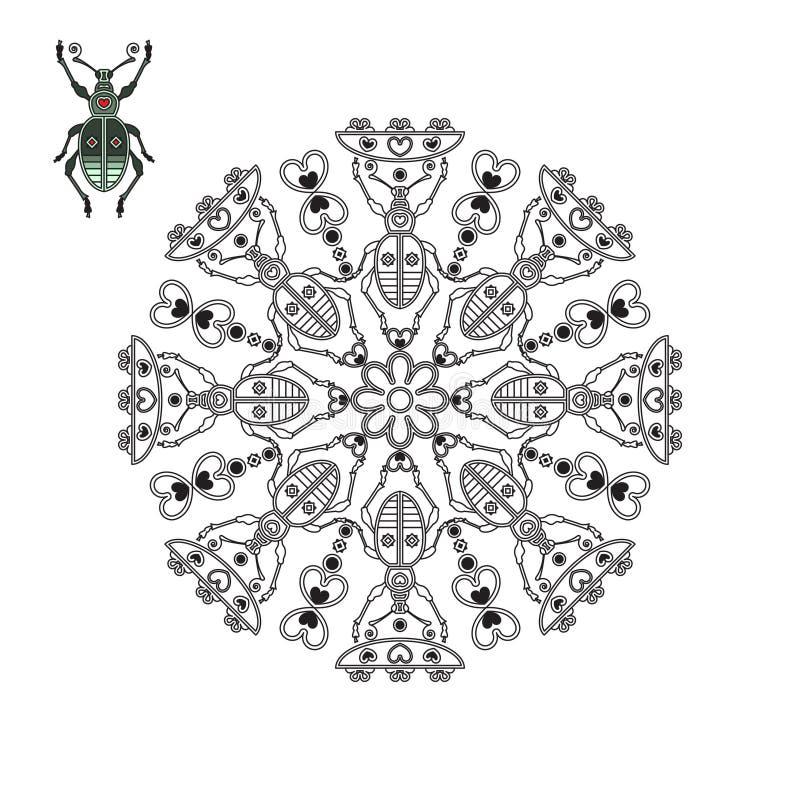 Mandala avec un scarabée tenant une fleur illustration stock